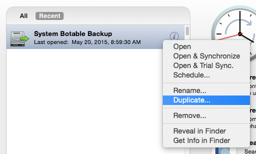 Duplicate Backup document