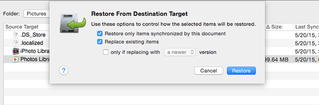 Restore from Destination target