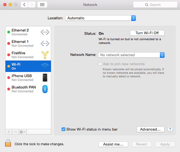Enable Wi-Fi in Network Preferences