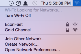 Create Network from Wi-Fi menubar