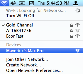 Select network from other Mac