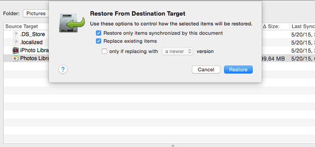 Restore from destination