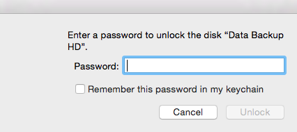 Provide password to access volume