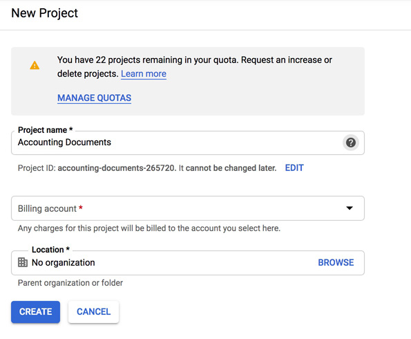 Google Cloud Platform Project creation