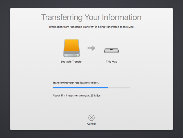 Transferring information to new Mac