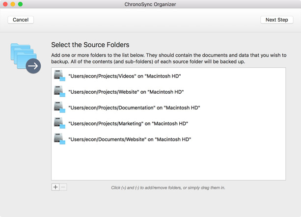 select your source folders