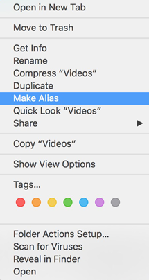 Make Alias in Finder