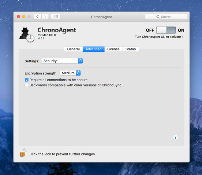 ChronoAgent Security settings