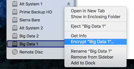 Encrypting a mounted volume from Finder