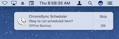 ChronoSync Scheduler prompting the user before running a backup