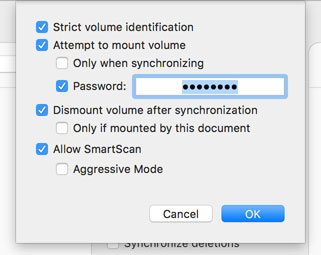 Specifying a password to mount an encrypted volume