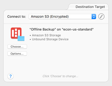 An Amazon S3 target configured for offline backup