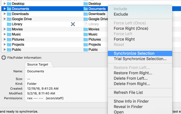 Synchronize Selection in Actions menu