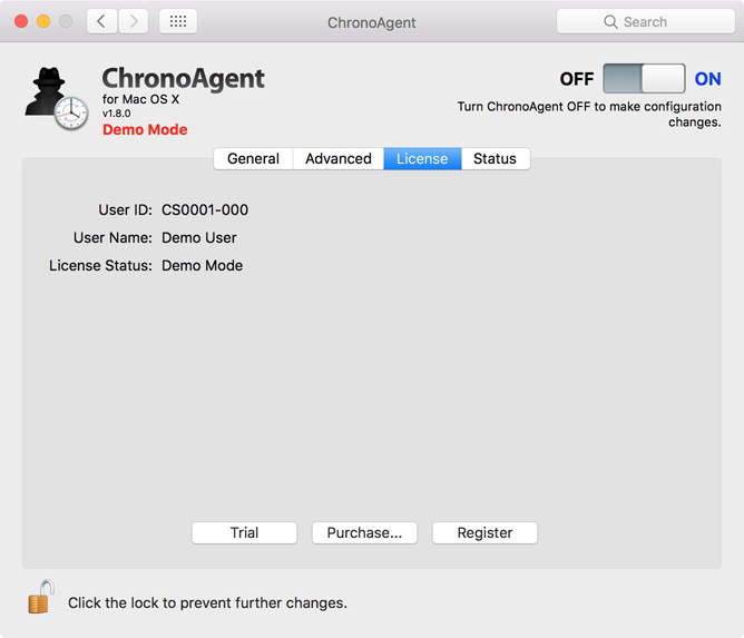 ChronoAgent License panel